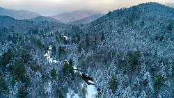 Winter on the Hudson River near its source in New York's Adirondack Mountains. Tahawus Tract, Newcomb, New York.
