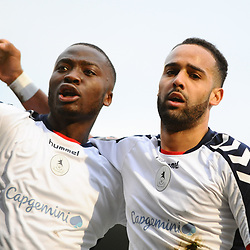 TELFORD COPYRIGHT MIKE SHERIDAN 5/1/2019 - GOAL. Brendon Daniels of AFC Telford celebrates with Dan Udoh of AFC Telford after scoring to make it 1-0 during the Vanarama Conference North fixture between AFC Telford United and Spennymoor Town.