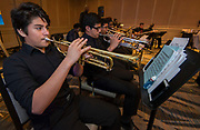 Members of the Westbury Jazz Band perform during the Scholars Banquet at the Westin Galleria, April 11, 2017.