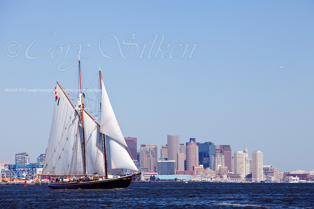 Schooner Bluenose II sailing in Boston Harbor during the 2009 Sail Boston Tall Ships event.