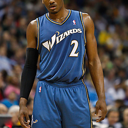 February 1, 2011; New Orleans, LA, USA; Washington Wizards point guard John Wall (2) against the New Orleans Hornets during the second quarter at the New Orleans Arena.   Mandatory Credit: Derick E. Hingle