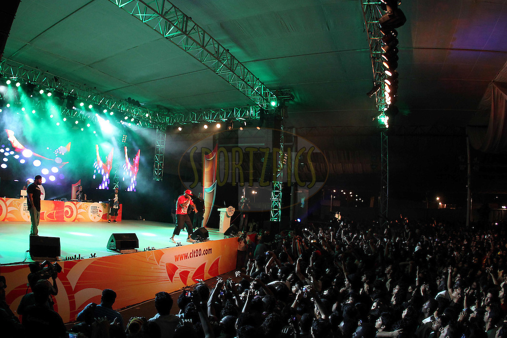 Flo Rider performs during the opening night concert of the CLT20 held at the Bangalore Palace Grounds in Bangalore, Karnataka, India on the 22nd September 2011..Photo by Ron Gaunt/BCCI/SPORTZPICS