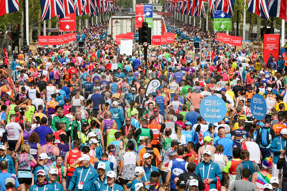 © Licensed to London News Pictures. 28/04/2019. London, UK. Mass runners at the finish of 2019 Virgin Money London Marathon. Photo credit: Dinendra Haria/LNP