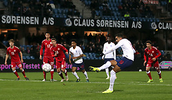 England U21's Dominic Calvert-Lewin scores his side's fifth goal of the game from the penalty spot during the international friendly match at the Blue Water Arena, Esbjerg.