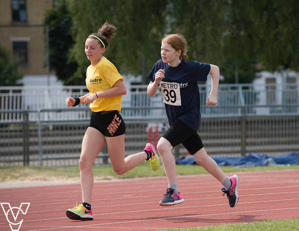 Metro Blind Sport's 2017 Athletics Open held at Mile End Stadium.  800m.  Chelsea Hudson with guide runner<br /> <br /> Picture: Chris Vaughan Photography for Metro Blind Sport<br /> Date: June 17, 2017