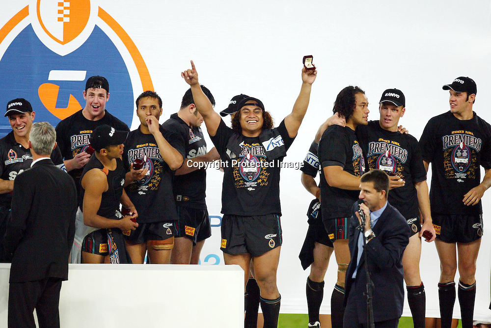 5th October 2003. Rugby League, NRL Grand Final, Telstra Stadium, Sydney, Australia. Penrith Panthers vs Sydney Roosters, <br />Joe Galuvao of Penrith and his team mates<br />Panthers won 18-6<br />Please credit: Sandra Teddy /Photosport