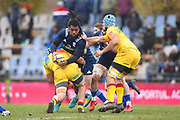 USA player Joseph Taufete'e offloads the ball in the first half during the November Test match between Romania and USA at Ghencea Stadium, Bucharest, Romania on 17 November 2018.