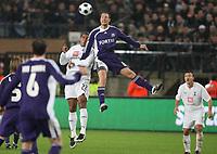 Photo: Maarten Straetemans/Sportsbeat Images.<br /> Anderlecht v Tottenham Hotspur. UEFA Cup. 06/12/2007.<br /> Tom Huddlestone (Tottenham) with Jan Polak of Anderlecht