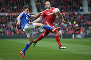 Ipswich Town midfielder, on loan from Barnsley, Paul Digby (37) fouls Middlesbrough defender, on loan from Leicester City, Ritchie De Laet (5)  during the Sky Bet Championship match between Middlesbrough and Ipswich Town at the Riverside Stadium, Middlesbrough, England on 23 April 2016. Photo by Simon Davies.