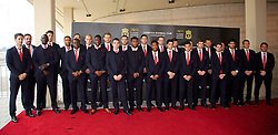 LIVERPOOL, ENGLAND - Tuesday, May 6, 2014: The Liverpool first team arrive on the red carpet for the Liverpool FC Players' Awards Dinner 2014 at the Liverpool Arena. Luis Alberto, Jose Enrique, Aly Cissokho, goalkeeper Brad Jones, Glen Johnson, Victor Moses, Daniel Agger, Martin Skrtel, Mamadou Sakho, goalkeeper Simon Mignolet, Iago Aspas, Jordan Henderson, Daniel Sturridge, Martin Kelly, Raheem Sterling, Joao Carlos Teixeira, captain Steven Gerrard, Philippe Coutinho Correia, Jon Flanagan, goalkeeping coach John Achterberg, Joe Allen, Luis Suarez, Lucas Leiva, manager Brendan Rodgers. (Pic by David Rawcliffe/Propaganda)