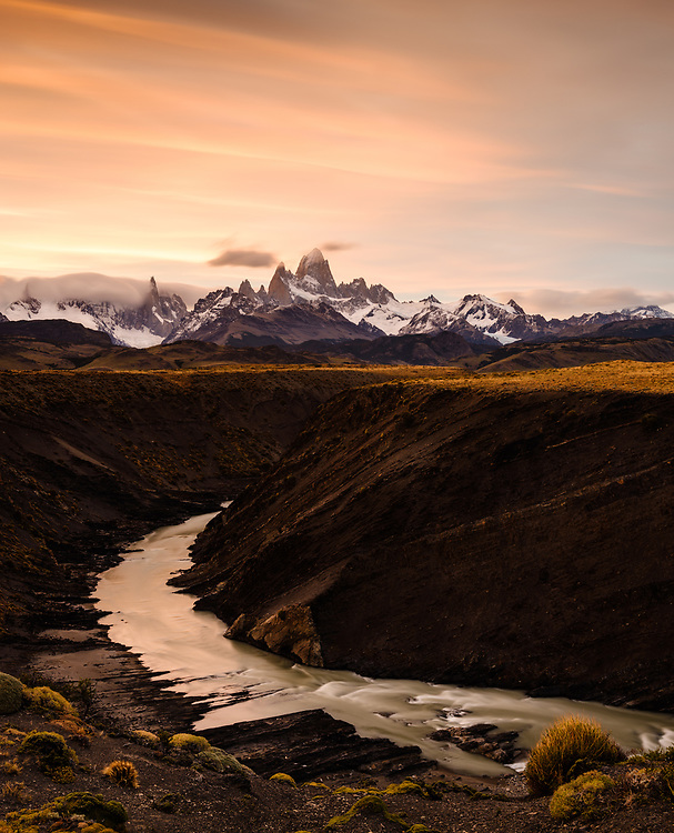 NATIONAL PARK LOS GLACIARES, ARGENTINA - CIRCA FEBRUARY 2019: Gorge and Rio de las Vueltas close to El Chalten in National Park los Glaciares in Argentina.