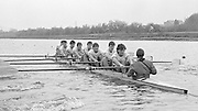 Nottingham. United Kingdom. <br /> GBR M8+. Bow Jon SPENCER-JONES, Paddy BROUGTON, John GARRETT, John MAXEY, Terry DILLON, Mark BUCKINGHAM, Steve PEEL, Richard STANHOPE and Cox. Vaugh THOMAS.<br /> Nottingham International Regatta, National Water Sport Centre, Holme Pierrepont. England<br /> <br /> 31.05.1986 to 01.06.1986<br /> <br /> [Mandatory Credit: Peter SPURRIER/Intersport images] 1986 Nottingham International Regatta, Nottingham. UK