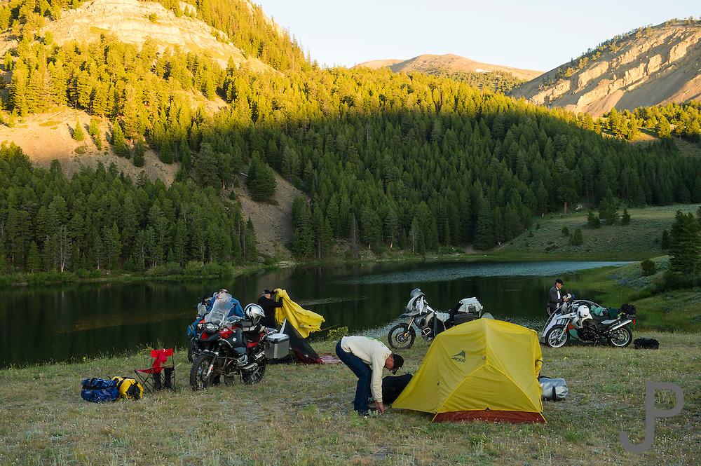 Setting up camp at Morrison Lake, MT