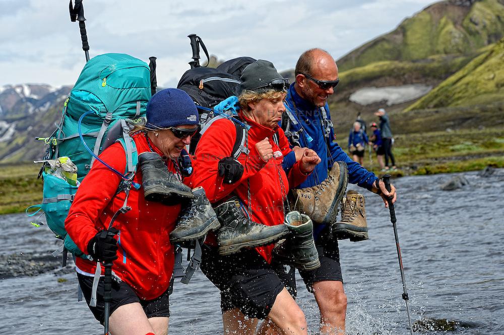 09-07-2014 ISL: Iceland Diabetes Challenge Dag 5, Emstrur<br /> Van Alftavatn naar Emstrur / Annet de Leeuw-den Boer, Sandra Ciere-Koolhaas, Wim in t Veld