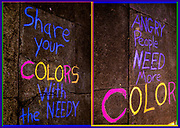"""glorious graffiti sidewalk art to share with charity for all art and """"angry people need more color"""""""