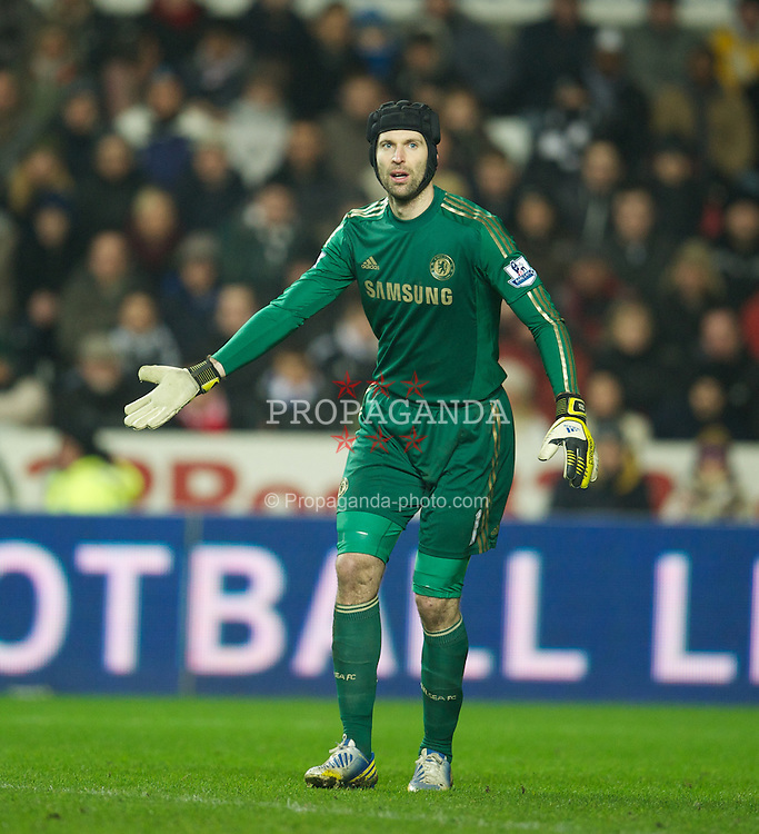 SWANSEA, WALES - Wednesday, January 23, 2013: Chelsea's goalkeeper Petr Cech in action against Swansea City during the Football League Cup Semi-Final 2nd Leg match at the Liberty Stadium. (Pic by David Rawcliffe/Propaganda)