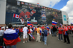Fans of Russia and Canada before an ice-hockey game Canada vs Russia at finals of IIHF WC 2008 in Quebec City,  on May 18, 2008, in Colisee Pepsi, Quebec City, Quebec, Canada.  (Photo by Vid Ponikvar / Sportal Images)
