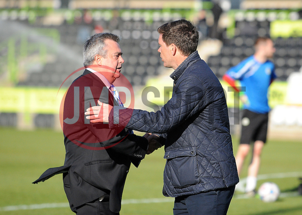 Chairman Nick Higgs with Bristol Rovers Manager, Darrell Clarke - Photo mandatory by-line: Neil Brookman/JMP - Mobile: 07966 386802 - 29/04/2015 - SPORT - Football - Nailsworth - The New Lawn - Forest Green Rovers v Bristol Rovers - Vanarama Football Conference