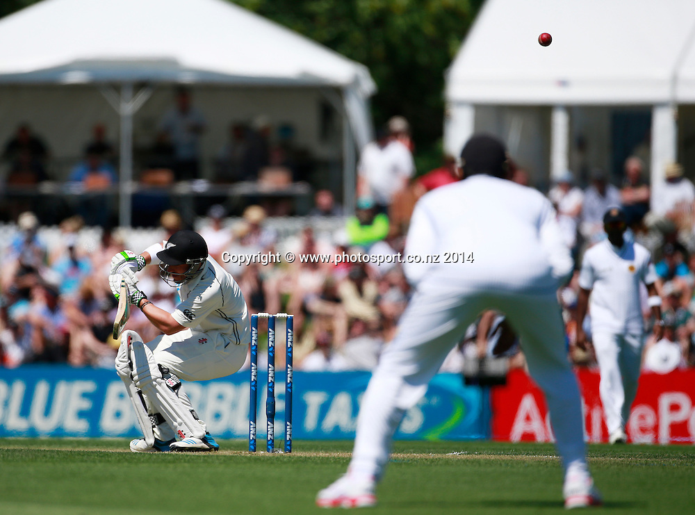 Hamish Rutherford of the Black Caps ducks a bouncer on Day 1 of the boxing Day Cricket Test Match  the Black Caps v Sri Lanka at Hagley Oval, Christchurch. 26 December 2014 Photo: Joseph Johnson / www.photosport.co.nz
