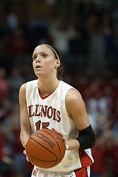 04 February 2006:  Megan McCracken at the free line. The Indiana State Sycamores shook the Illinois State Redbirds from the nest with a 75-71 Victory.  There were 3,581 fans on hand, making the audience the  2nd largest women's basketball crowd ever in Redbird Arena on Illinois State University campus in Normal Illinois.