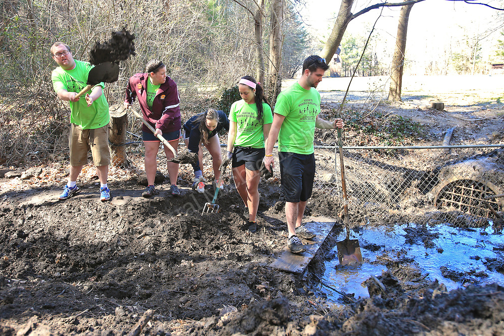 Left to Right- Justin Bates, of East Lansing, JaLisa Gorby, of Coldwater, Ally Vasilauskas, of Holland, Emma Drummond, of Plymouth and Scott Thrun, of Haslett, volunteer and work at clearing a stream bed and firming up it's banks. They were among nine CMU students on their Alternative Break who arrived at the YMCA of Western NC Youth Service Center to spend the week to help with projects to improve the center and in the community. They addressed access to sports and recreation and built a kiosk, cleared a stream bed and worked with elementary students in an after school program as their Alternative Break project. CMU is ranked fourth in the nation for the number of students participating in Alternative Breaks and fifth in the country for the most trips coordinated by a university. The program organizes about 40 trips each year with more than 400 students participating. Photo by Steve Jessmore/Central Michigan University