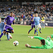 Mix Diskerud, NYCFC, has his shot saved by Orlando goalkeeper Joe Bendik during the New York City FC Vs Orlando City, MSL regular season football match at Yankee Stadium, The Bronx, New York,  USA. 18th March 2016. Photo Tim Clayton