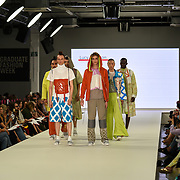Designer Lucy Moulton showcases it lastest collection at the Graduate Fashion Week 2018, 4 June 4 2018 at Truman Brewery, London, UK.