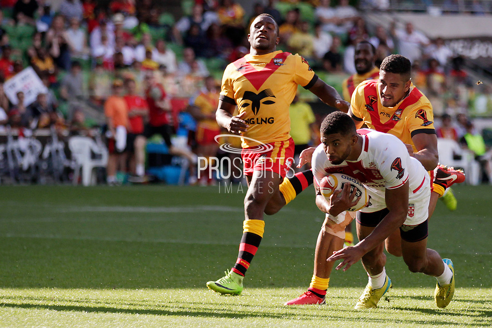 Kallum Watkins of England scores a try during the Rugby League World Cup Quarter-Final match between England and  Papua New Guinea at Melbourne Rectangular Stadium, Melbourne, Australia on 19 November 2017. Photo by Mark  Witte.