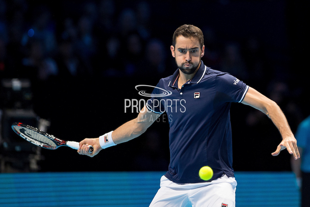 Marin Cilic of Croatia during day six of the Barclays ATP World Tour Finals at the O2 Arena, London, United Kingdom on 18 November 2016. Photo by Martin Cole.