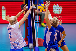 23-08-2017 NED: World Qualifications Greece - Slovenia, Rotterdam<br /> Sloveni&euml; wint met 3-0 / Aikaterina Giota #13 of Greece, /Eva Mori #1 of Slovenia