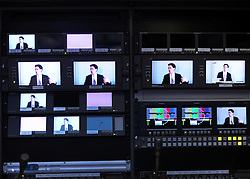 © Licensed to London News Pictures. 17/11/2011, London, UK. TV monitors in a broadcast unit outside the venue. ED MILIBAND MP, Leader of the Labour Party and Leader of the Opposition, delivers a key-note speech to the Social Market Foundation's conference on building a new economy in Central London today, 17th November 2011.  Photo credit : Stephen Simpson/LNP