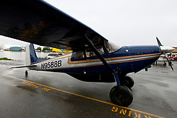Cessna 180A (registration N9588B) single engine prop plane parked near Lake Hood, Anchorage, Alaska, United States of America