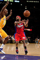 15 January 2010: Guard Baron Davis of the Los Angeles Clippers passes the ball against the Los Angeles Lakers during the first half of the Lakers 126-86 victory over the Clippers at the STAPLES Center in Los Angeles, CA.