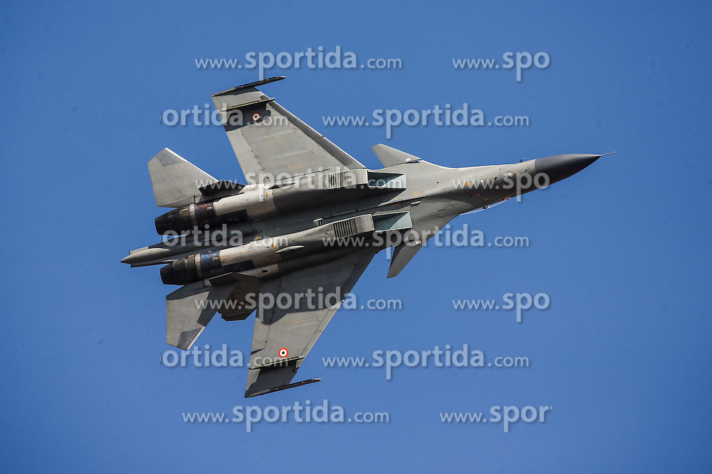 An Indian Air Force's Su-30 MKI flies during the Aero India 2015 in Air Force Station Yelahanka of Bangalore, India, Feb. 18, 2015. The biennial air show this year attracted dealers from 49 countries, showcasing their aero-related products in military and civilian fields. EXPA Pictures © 2015, PhotoCredit: EXPA/ Photoshot/ Zheng Huansong<br /> <br /> *****ATTENTION - for AUT, SLO, CRO, SRB, BIH, MAZ only*****