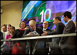 The London Mayor Boris Johnson opens the trading at the London Stock Exchange London, Tuesday February 12, 2013. Photo By Andrew Parsons / i-Images