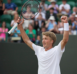 LONDON, ENGLAND - Friday, July 1, 2011: Liam Broady (GBR) celebrates after winning the Boys' Singles Semi-Final match on day eleven of the Wimbledon Lawn Tennis Championships at the All England Lawn Tennis and Croquet Club. (Pic by David Rawcliffe/Propaganda)