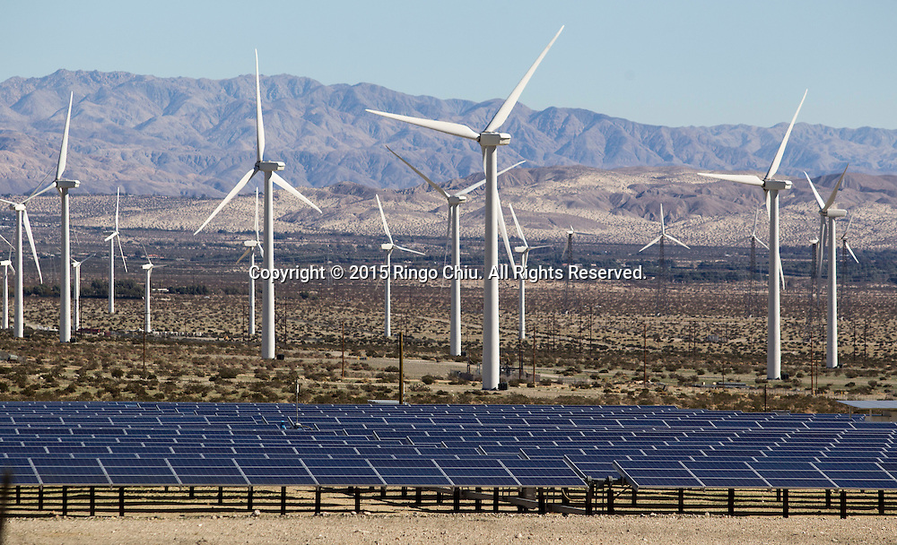 Windmills  and solar panels are seen at Morongo Valley, California on January 25, 2015. (Photo by Ringo Chiu/PHOTOFORMULA.com)