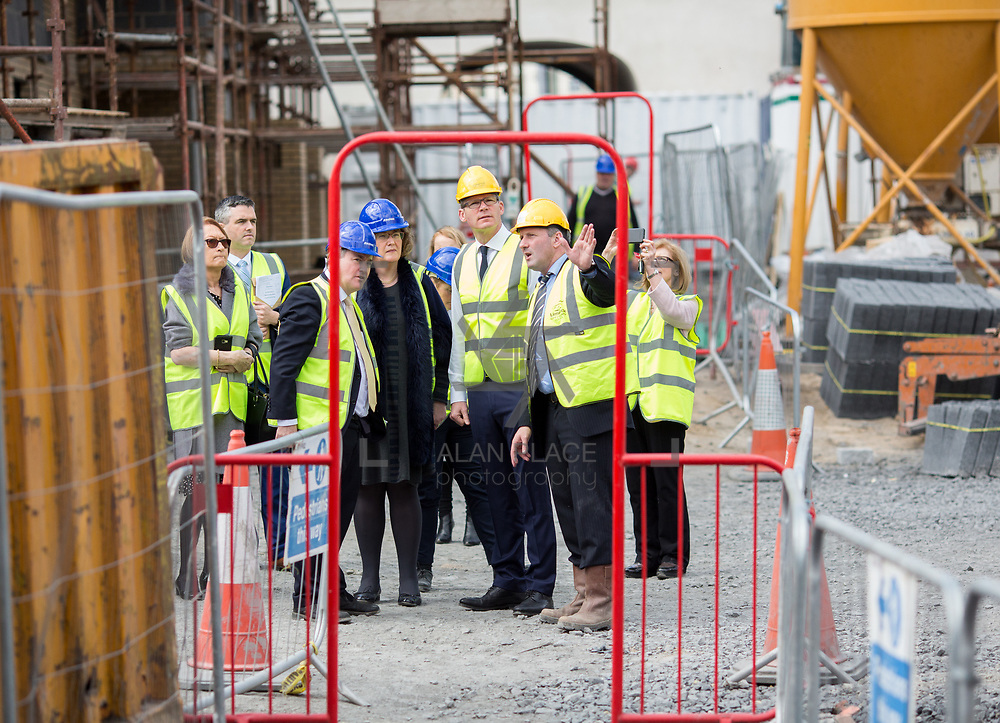 24.04.2017.       <br /> Minister for Housing Simon Coveney visiting the Lord Edward Street site in Limerick, where 81 units for social housing are nearing completion as part of the Limerick Regeneration programme.  57 of which are elderly units (1 and 2 bed apts and 2 bed houses) with the remainder (24) being family homes (3 bed)​. <br /> <br /> Minister for Housing Simon Coveney is pictured on site with Senior Executive Architect at Limerick City Council, Seamus Hanrahan with Senators Kieran O'Donnell and Maria Byrne. Picture: Alan Place.