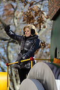 NEW YORK, NY, USA, Nov. 28, 2013.  Megan Hilty waves from a float in the 87th Annual Macy's Thanksgiving Day Parade.