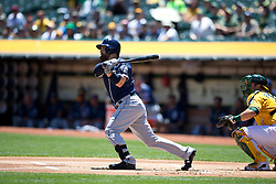 OAKLAND, CA - JUNE 18:  Derek Norris #3 of the San Diego Padres at bat against the Oakland Athletics during the first inning at O.co Coliseum on June 18, 2015 in Oakland, California. The San Diego Padres defeated the Oakland Athletics 3-1. (Photo by Jason O. Watson/Getty Images) *** Local Caption *** Derek Norris