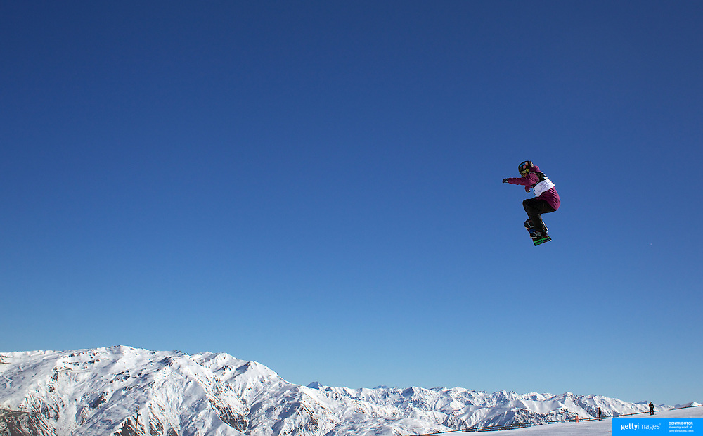 Jamie Anderson, USA, in action during the Snowboard Slopestyle Ladies competition at Snow Park, New Zealand during the Winter Games. Wanaka, New Zealand, 21st August 2011. Photo Tim Clayton