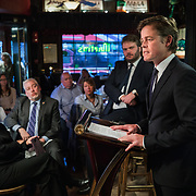 WASHINGTON, DC - MAR7: Caspar Phillipson, the Danish actor who played JFK in the recent movie Jackie, reenacts some of President Kennedy's most famous speeches, while Danish historian, author, and friend Anders Agner Pedersen  looks on, at Martin's Tavern in Georgetown, March 7, 2017. (Photo by Evelyn Hockstein/For The Washington Post)