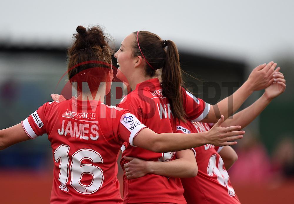 Caroline Weir of Bristol Academy Women celebrates with team mates - Mandatory by-line: Paul Knight/JMP - Mobile: 07966 386802 - 04/10/2015 -  FOOTBALL - Stoke Gifford Stadium - Bristol, England -  Bristol Academy Women v Liverpool Ladies FC - FA Women's Super League