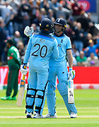 150 - Jason Roy of England is congratulated by Jos Buttler of England as he celebrates scoring 150 during the ICC Cricket World Cup 2019 match between England and Bangladesh the Cardiff Wales Stadium at Sophia Gardens, Cardiff, Wales on 8 June 2019.