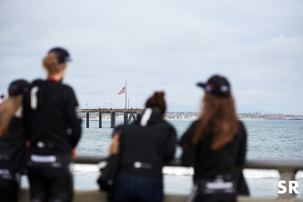 Team Sunweb wait for sign on at Amgen Tour of California Women's Race empowered with SRAM 2019 - Team Presentation in Ventura, United States on May 15, 2019. Photo by Sean Robinson/velofocus.com