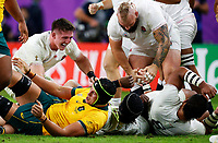 Rugby Union - 2019 Rugby World Cup - Quarter-Final: England vs. Australia<br /> <br /> Tom Curry of England reacts after Maro Itoje of England wins possession at Oita Stadium, Oita Prefecture.<br /> <br /> COLORSPORT/LYNNE CAMERON