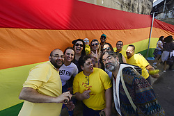 June 18, 2017 - Sao Paulo, Brazil - Activists participate in the Walk of Lesbian and Bisexual Women in Praça Roosevelt, central SP. The act was organized by the LGBT (lesbian, gay, bisexual and transgender) in São Paulo, Brazil, on June 17, 2017. LGBT community marches in solidarity, equality, dignity, rights and in celebration of their diversity. (Credit Image: © Cris Faga/NurPhoto via ZUMA Press)