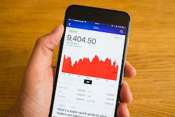 Detail of stock market performance of DAX German stock exchange  on a smart phone