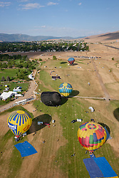 """Great Reno Balloon Race 3"" - The 2011 Great Reno Balloon Race balloons photographed from a hot air balloon. A tilt-shift lens was used to achieve the ""toy"" like look."