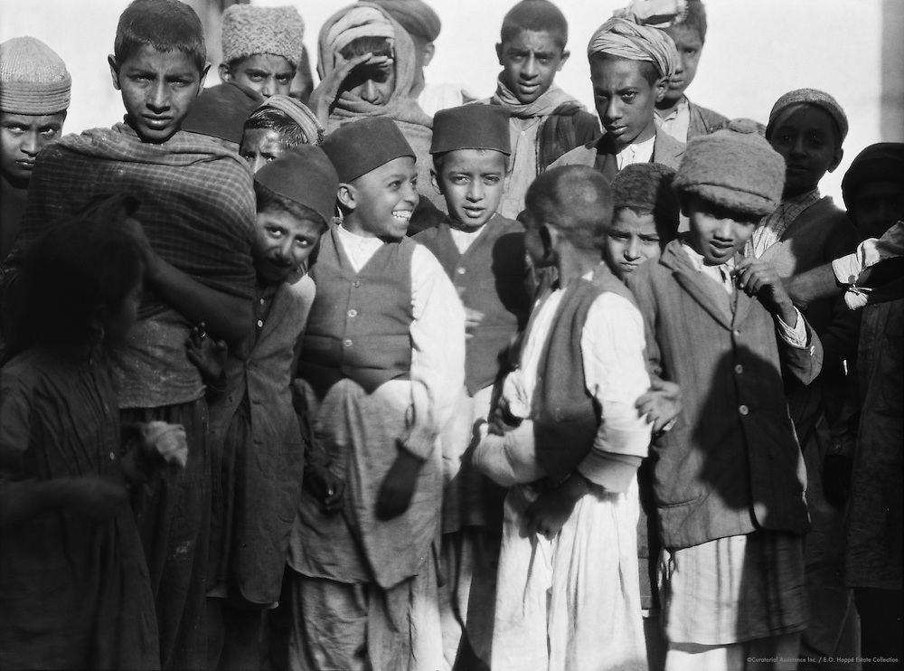 Crowd of Young Men and Boys Wearing Hats, Peshawar, India, 1929